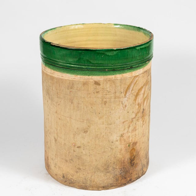 Green banded pot from early 20th century England.