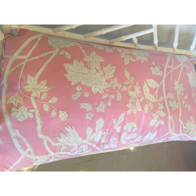 Chinese Chippendale Faux Bamboo Lacquered Pink Cushion Arm Bench For Sale - Image 4 of 12