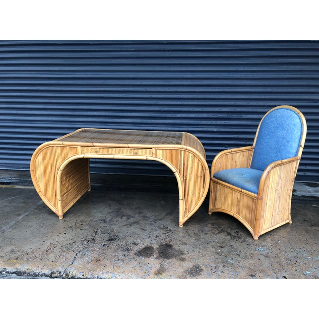 Vintage Curved Split Reed Rattan Desk With Chair For Sale - Image 12 of 12