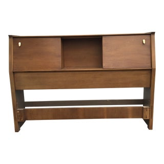 John Van Koert Drexel Profile Walnut Full Size Bookcase Headboard For Sale