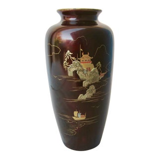 1950s Japanese Iron Hand Painted Vase For Sale
