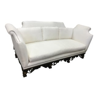 Marge Carson Oversized White Chenille Rhinestone Tacked Settee For Sale