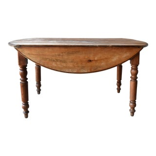 19th-Century French Cherry Wood Drop Leaf Table For Sale