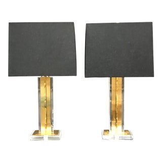 Lucite and Brass Lamps by Modern History - A Pair For Sale