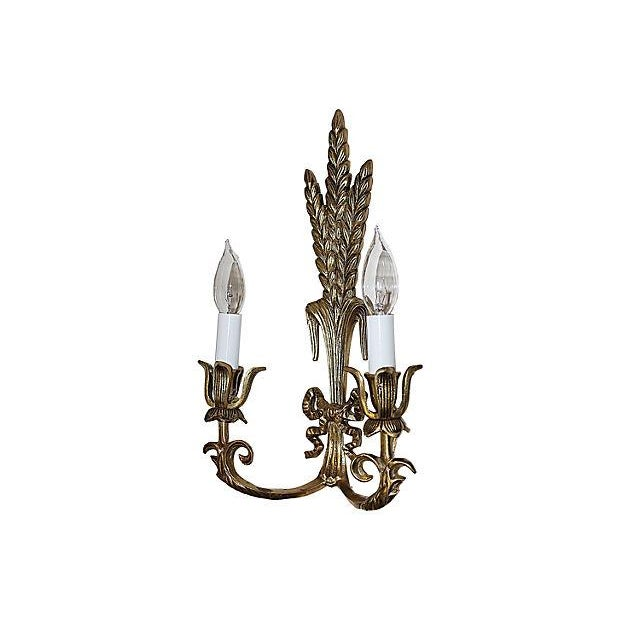 Brass Wheat Sconces- A Pair - Image 4 of 5
