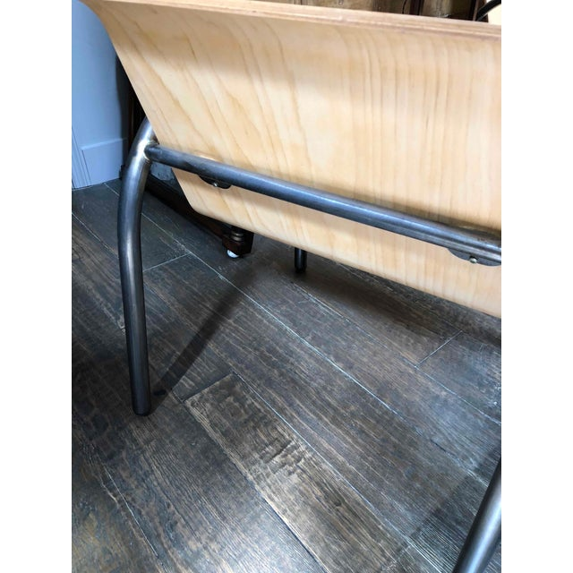 1950s Pair or Set of Four Metal and Wood Arm Chairs For Sale - Image 4 of 5