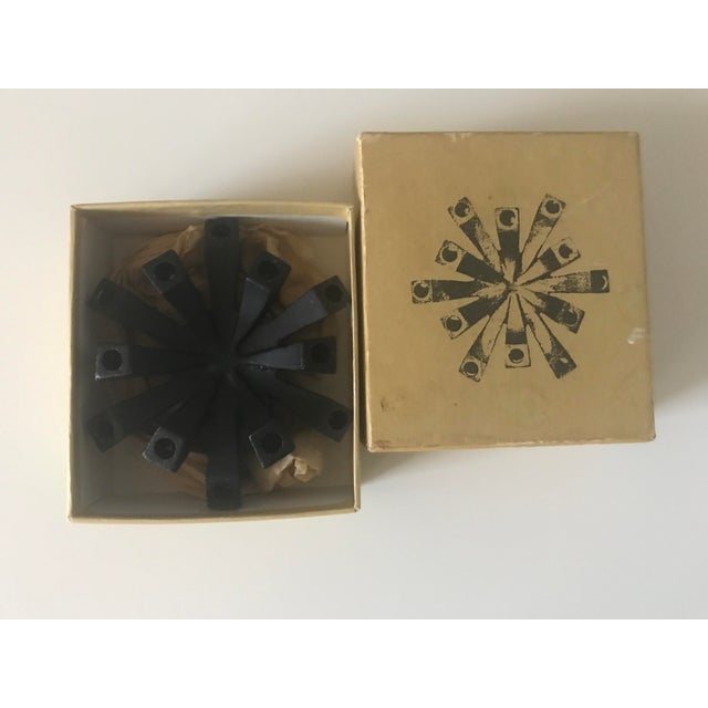 Cast Iron 12 taper candle holder by Hallmark. In original box. Great Mid-Century Modern addition.
