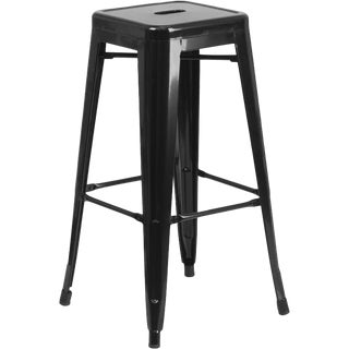 "Industrial Black Steel Barchetta 30"" Bar Stool"