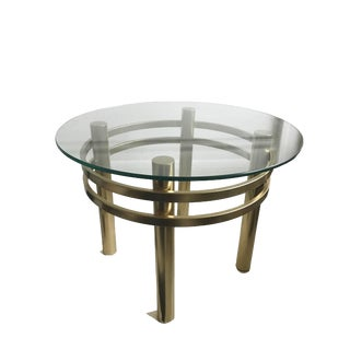 1970s Mid Century Brass Glass Coffee Table For Sale
