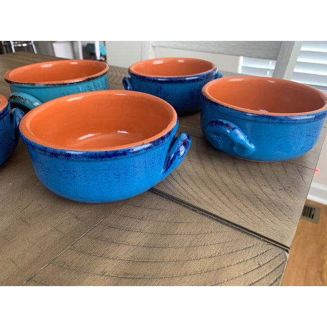 Rustic Vintage DeSilva Rustic Painted & Glazed Terra Cotta Soup Bowls With Handles- Set of 5 For Sale - Image 3 of 12