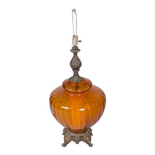 EF & EF Industries Amber Glass Lamp For Sale