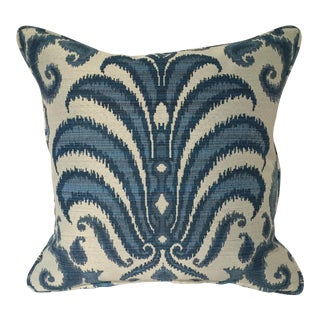 Ikat Blue & White Damask Pillow