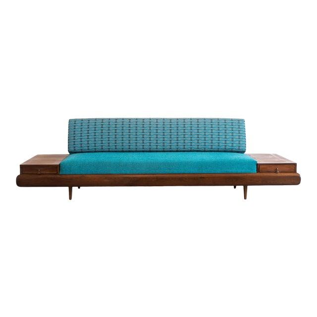 Mid-Century Modern Adrian Pearsall Sofa in Josef Hoffmann Maharam Peacock Upholstery For Sale