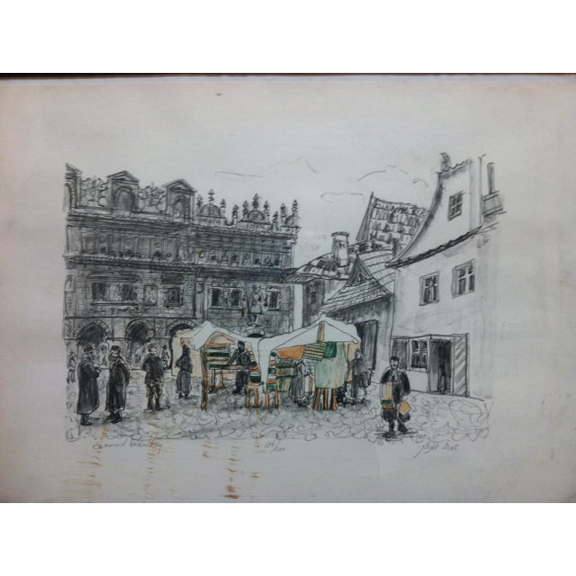 """English """"Town Market"""" Limited Edition Signed (114/200) Framed Print by Shemuel Wodnitzky For Sale - Image 3 of 7"""