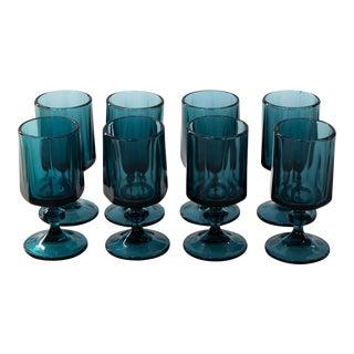 1960s Vintage Libbey Blue Wine Glasses - Set of 8 For Sale
