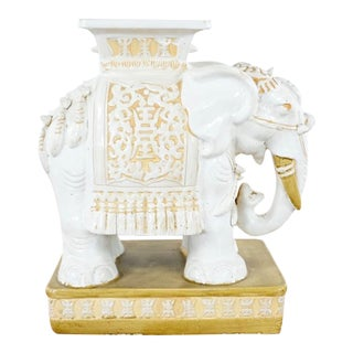 Contemporary Gold and White Painted Ceramic Elephant End Table For Sale