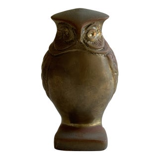 Vintage Solid Brass Decor Owl For Sale
