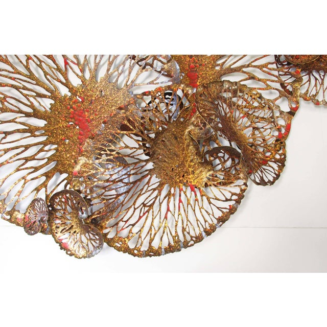 Asian Red and Gold Lotus Iron Wall Sculpture by Fabio Ltd For Sale - Image 3 of 6