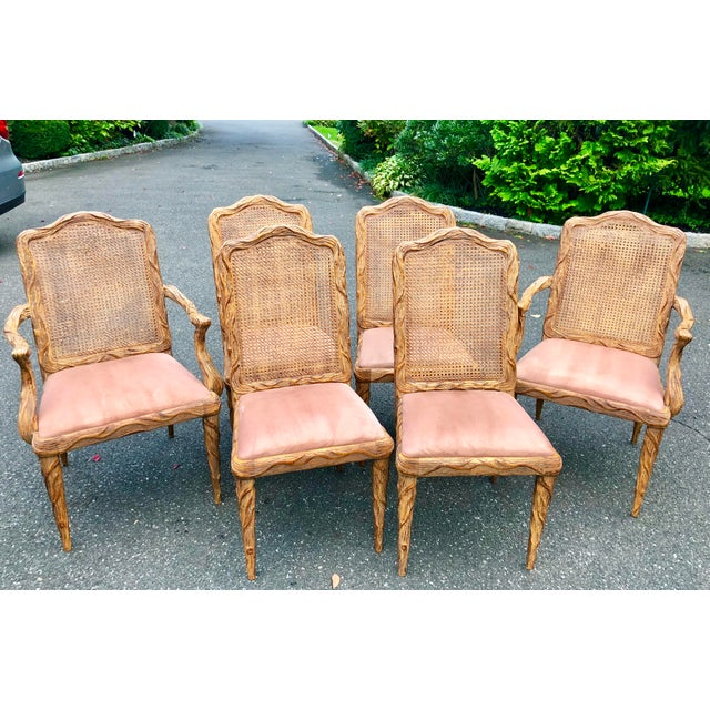 Faux Bois Dining Chairs - Set of 6 For Sale - Image 4 of 13