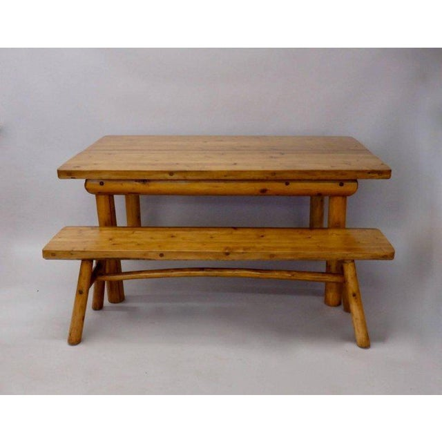 Wood Knotty Pine Rustic Adirondack Ranch or Cottage Dining Table With Benches For Sale - Image 7 of 10