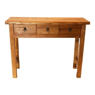 Vintage Reclaimed Wood Rustic 3 Drawer Chinese Console For Sale