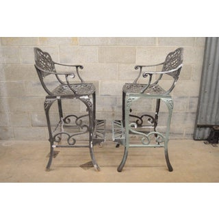 "Pair of Dakota Cast Aluminum Patio Bar Stool Chairs Pool Garden Furniture 30"" Preview"