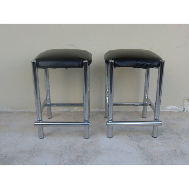 1970's Backless Chrome Bar Stools - a Pair For Sale - Image 9 of 10