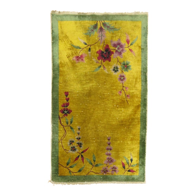 Yellow Chinese Art Deco Rug, 2'11'' X 4'9'' For Sale