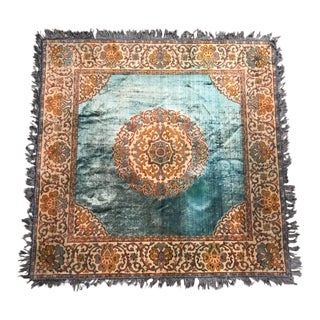 Vintage Persian Turquoise Blue and Orange Velvet Table Cover For Sale