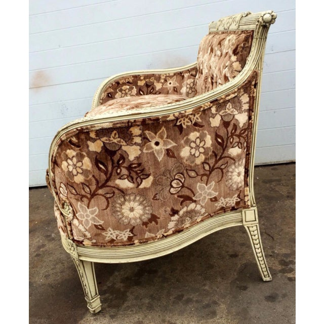 French Style Floral Upholstered Loveseat For Sale - Image 4 of 4