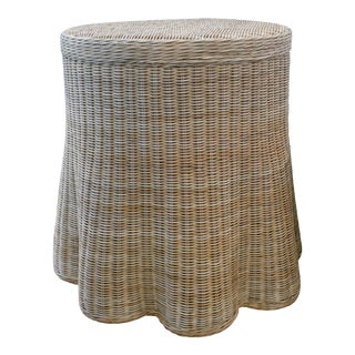 Scalloped Round Side Table by Mainly Baskets For Sale