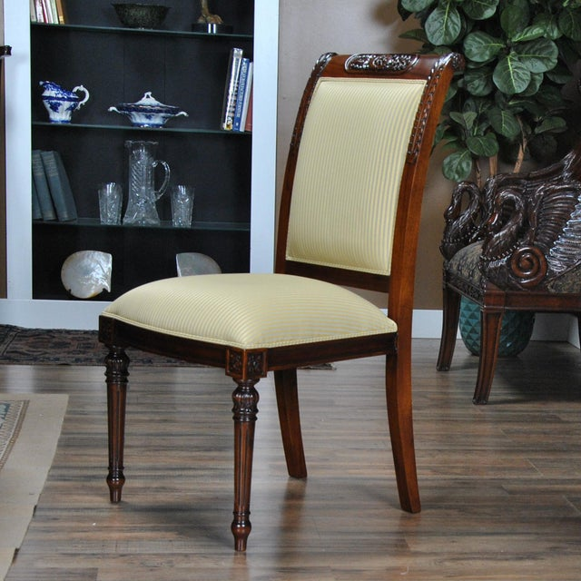 Niagara Furniture Carved Empire Upholstered Side Chair For Sale - Image 6 of 13