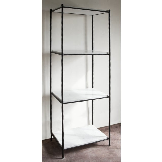 Hendrick etagere by Van Collier. Hammered steel frame in black finish with white marble shelves.