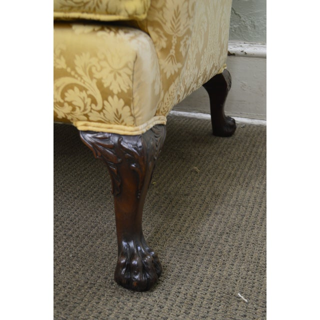 1940s Georgian Style Custom Carved Mahogany Paw Foot Lounge Chair Bergere For Sale - Image 5 of 12
