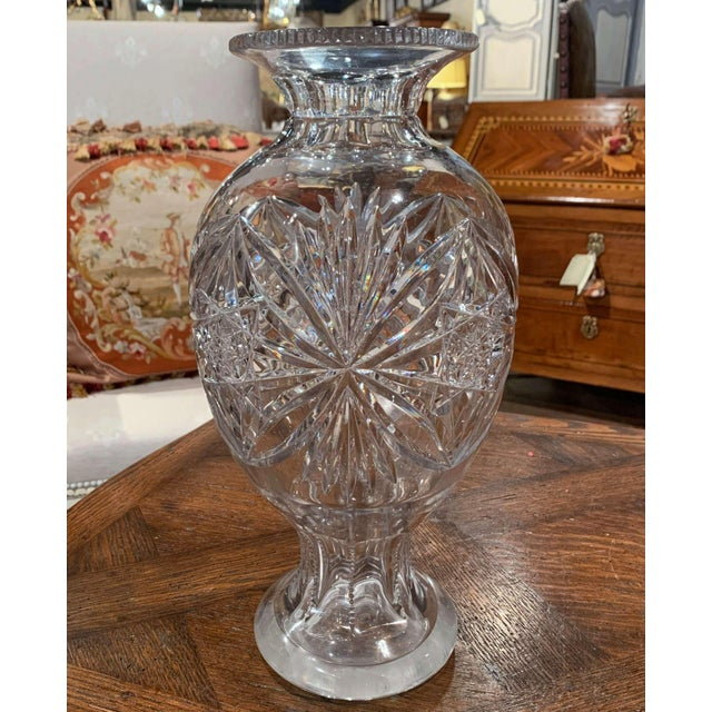 Mid 20th Century Midcentury Clear Cut Glass Vase With Foliage and Star Motifs For Sale - Image 5 of 10