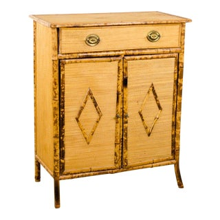 20th Century Victorian Rattan Floor Cabinet For Sale