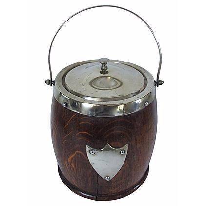 Vintage English Oak And Silverplate Ice Bucket - Image 1 of 2