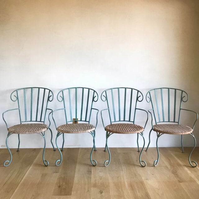Vintage Verdigris Iron and Woven Rattan Dining or Patio Chairs-Set of Four For Sale - Image 13 of 13