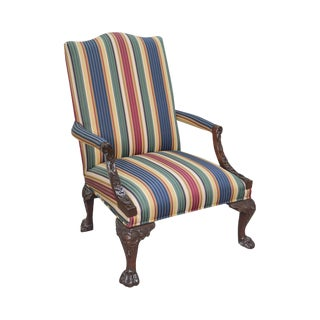 Henredon Historic Natchez Collection Georgian Style Carved Mahogany Library Arm Chair For Sale