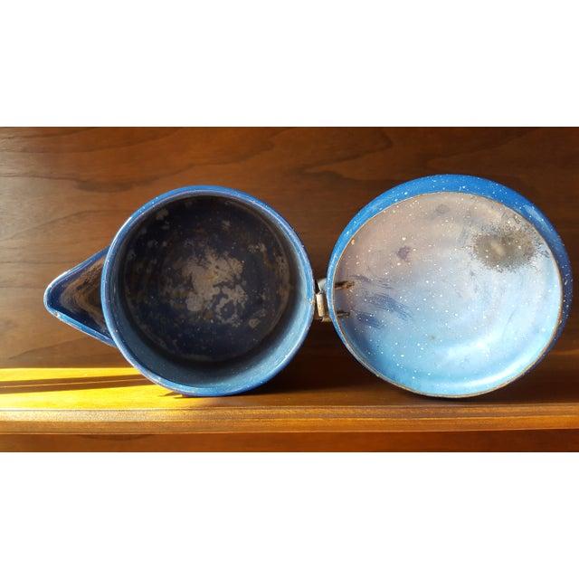 Vintage Blue Enamel Graniteware Enamel Tea Kettle For Sale - Image 11 of 13
