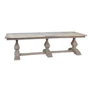 Grand Antique Rustic Oak Banquet Table For Sale