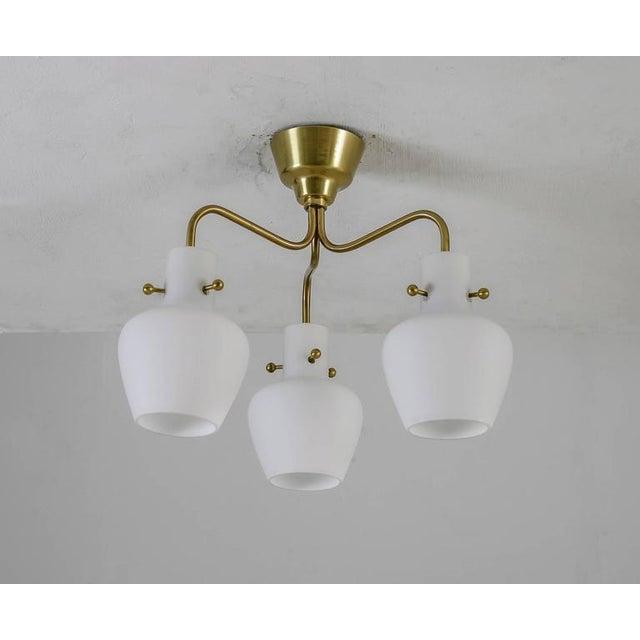Mid-Century Modern Three shaded Hans Bergstrom flushmount chandelier for Lyktan, Sweden, 1940s For Sale - Image 3 of 6