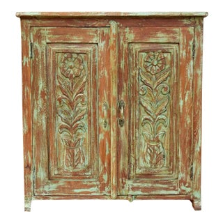 1920s Rustic Green Cabinet For Sale