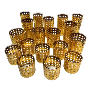 "Culver Mid-Century Modern ""Cannella"" 22k Gold Cane Cocktail Glassware - Set of 18 For Sale"
