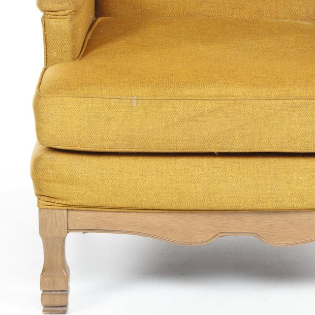 Yellow Vintage Mid-Century Porter's Chair in Mustard Wool Upholstery on a Limed Wood Base For Sale - Image 8 of 13
