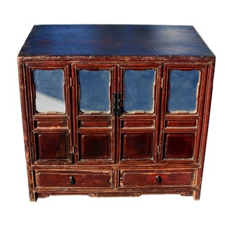 Antique Chinese Mirrored Storage Cabinet For Sale