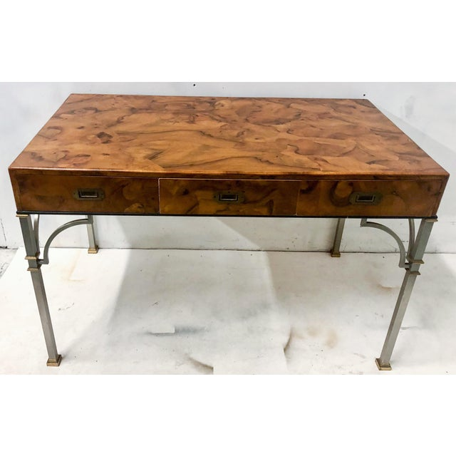 1960s Campaign Style Italian Burlwood Desk and Chair For Sale - Image 5 of 9