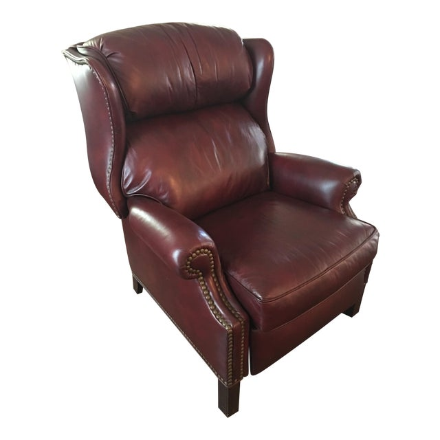 Hancock & Moore Addison Bustle Back Ball & Claw Recliner in Red Leather - Image 1 of 11