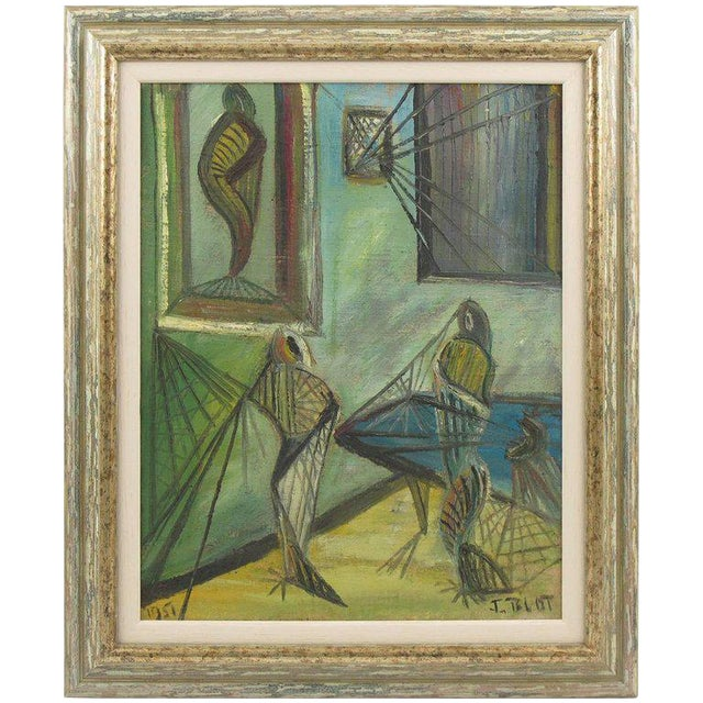 J. Blot France Modernist Interior With Spider Web Acrylic on Canvas Painting For Sale