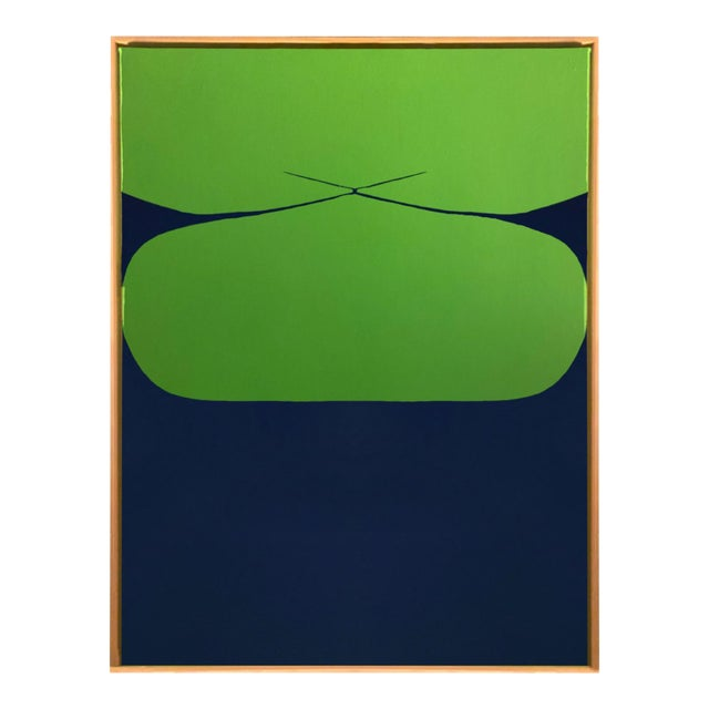 Contemporary Minimalist Abstract Hard Edge Acrylic and Gouache Painting by Brooks Burns, Framed For Sale
